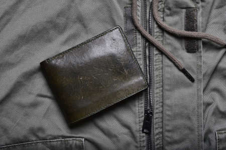 Leather wallet, Handcraft full grain vegetable tanned olive green wallet, Men fashion and accessory, Leather patina texture mark from aged used.