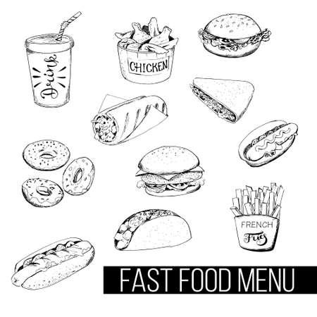 Fast food menu in sketch style Vektoros illusztráció