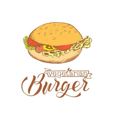 Vegetarian hamburger in sketch style