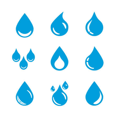 set of water drop icons Vector Illustration