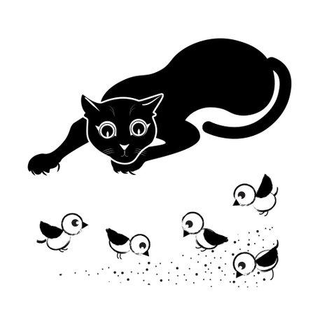 Cat tracks down birds Vector Illustration