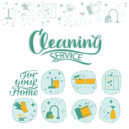 A set of icons for washing and disinfecting