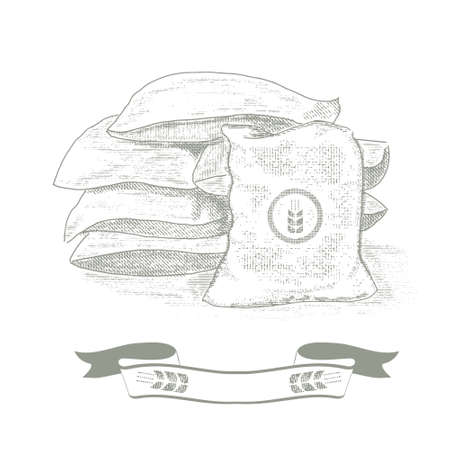 Bags of grain, wheat. Old-style illustration