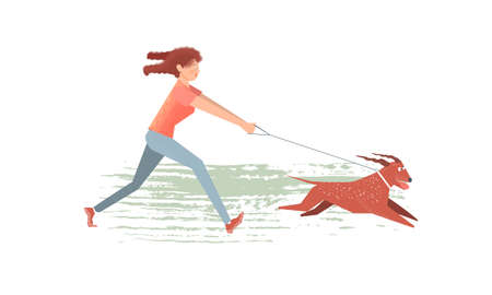 The girl quickly runs after her dog