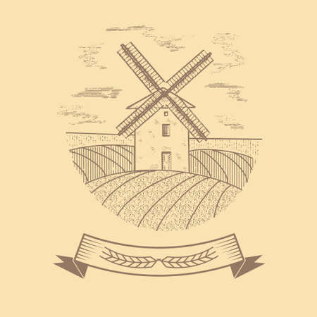 Windmill in vintage retro style Vettoriali