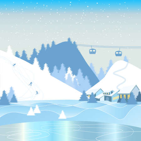 Winter landscape with frozen lake, mountain resort and skiers