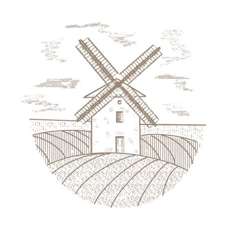 Windmill in the field vintage illustration