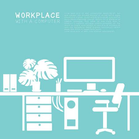 workplace for office or freelancing Vektorgrafik