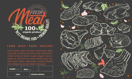 Flyer template for meat products illustration Векторная Иллюстрация