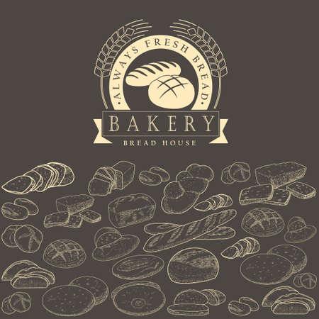Bakery logo, bread in a basket Logo