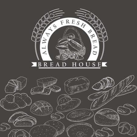 Bakery icon, bread in a basket