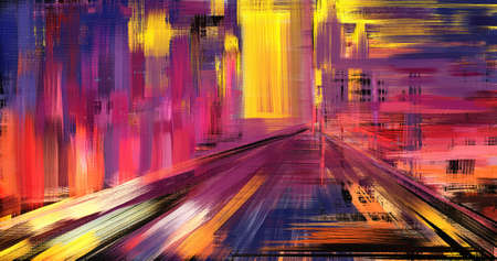 Abstract hand drawn artwork in impressionism style. Surrealistic landscape on canvas. Magic road to eternity vibrant modern illustration made with rough brush strokes