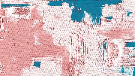 Rough acrylic paint strokes on canvas. Abstract painting, sky, clouds, teal blue and coral color texture, grungy background illustration Vector Illustration