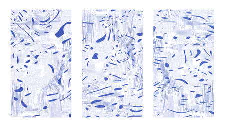 Abstract fluid background set. Water and pebbles. Dynamical blue rippled surface, illusion, curvature. Liquid paint on canvas Ilustração