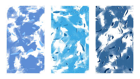 Abstract artistic texture. Hand drawn vector illustration. Shades of blue particles, chaotic strokes on canvas, paintings in a modern style