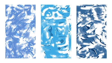 Abstract artistic textures. Hand drawn vector illustration. Blue particles, chaotic brush strokes on canvas, modern style paintings