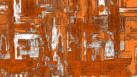 Rough oil paint strokes on canvas. Abstract painting, orange texture, grungy background vector illustration