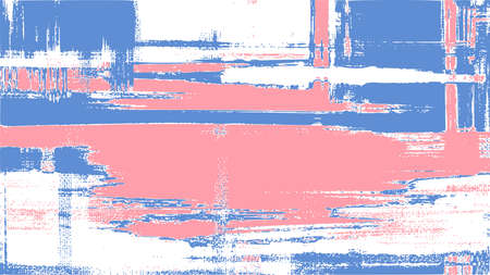 Abstract landscape painting, water reflection. Artistic brush strokes, pink, white and blue oil paint on canvas, cross hatching grungy vector background