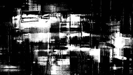Black and white rough oil paint strokes on canvas. Messy painting, cross hatching monochrome grungy background