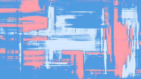Blue artwork on canvas. Abstract background painting, fantasy dirty art. Surreal hand drawn landscape. Grungy cross hatching brush strokes, vector illustration background Vector Illustration