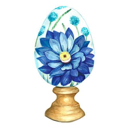 Easter egg Faberge. Illustration of a painted egg on a stand. Handmade drawing.