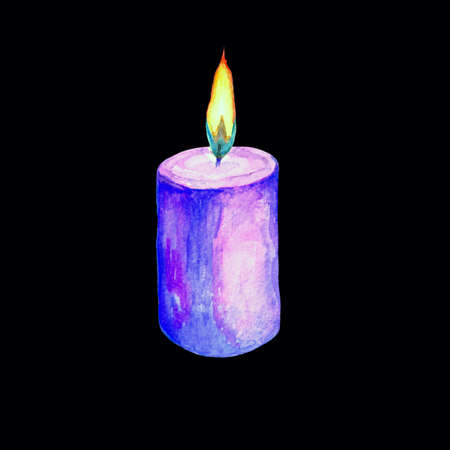 Watercolor illustration of a lighted candle in blue. Isolated image of a burning candle. Handmade drawing. Flame of fire. Stock Photo