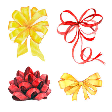 Watercolor illustration collection of ribbon bow. Set of isolated image of celebratory decoration for packing and boxes. Hand drawing.