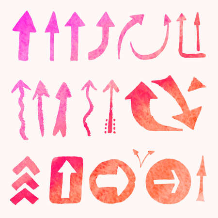 Collection of arrows in pink tones painted with watercolor. Isolated image of the elements of the direction of motion. Hand-painted drawing. Illustration of symbols.