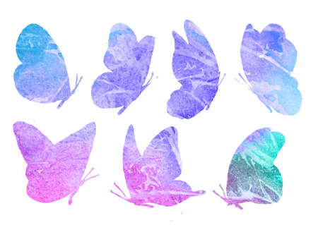 Abstract collection of butterfly silhouettes. Watercolor set of animal images are insulated in pink tones on a white background. Figure insect manual work.