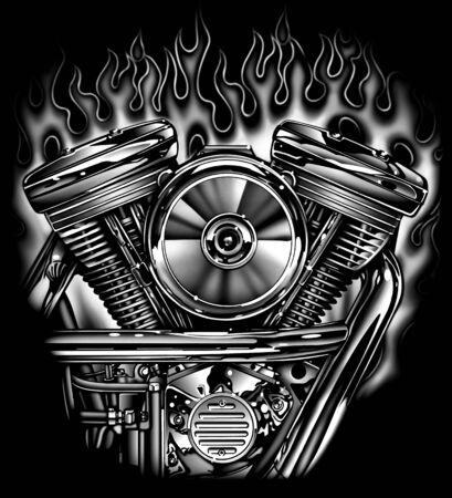 V-twin Motor Illustration