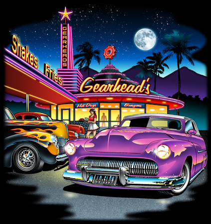 Gearhead Drive In Restaurant with cars