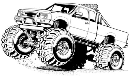 Cartoon 4x4 Truck Stock Photo