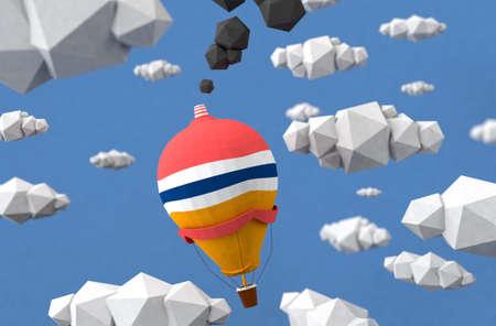 xl: Funny low poly cartoon balloon landscape Stock Photo