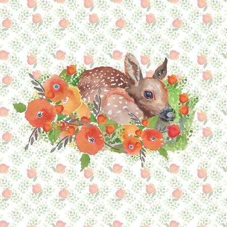 Fawn in der handgemalten Aquarellillustration des Waldes