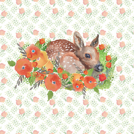 Fawn in The Forest Hand Painted Watercolor Illustration