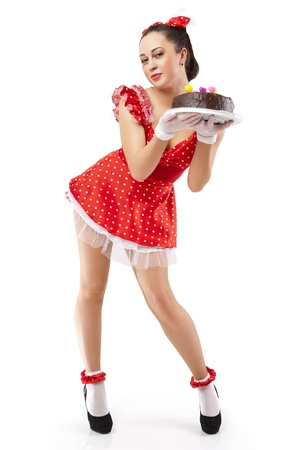 A young woman with chocolate cake. Stock Photo