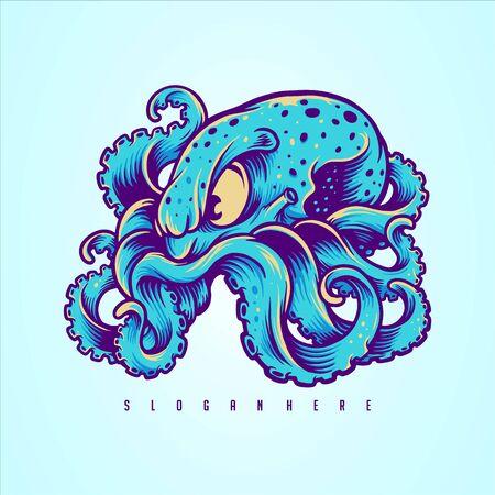 Blue Kraken, Octopus Design your Merchandise 矢量图片