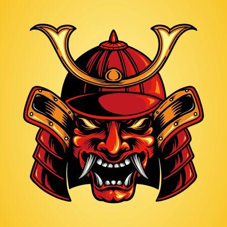 Traditional Vector Mask Head Samurai Japan