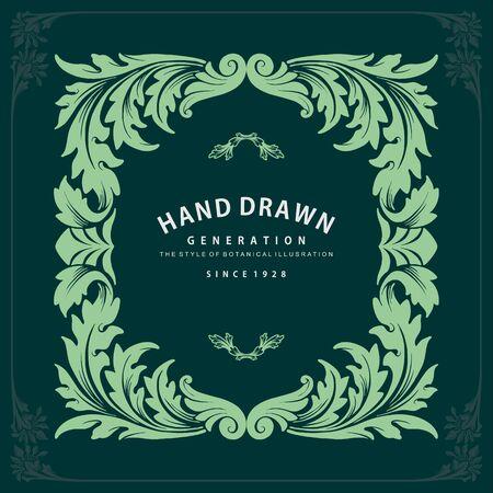 Label ornate swirls and vignettes frame design vector Invitation and Wine Design