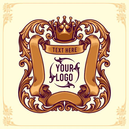 King Badges logo design template Floral Frame ornaments