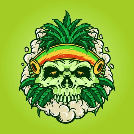 Skull smoking a marijuana and breathes the smoke out of his mouth.Prints design for t-shirt.Street style label Ilustração