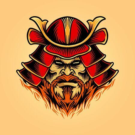 illustrations A samurai mask shogun warrior helmet for your icon logo and clothing apparel