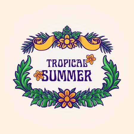 tropical summer frame Leaf