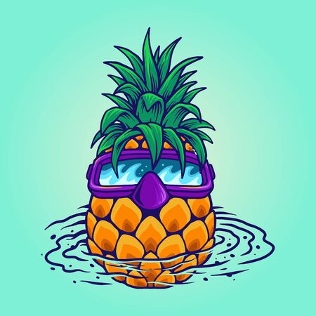 pineapple swimming summer holiday