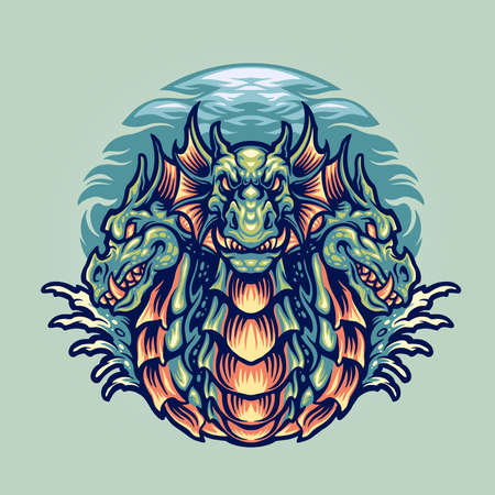 Dragon Hydra Character Mascot Illustrations for merchandise and clothing line Stock Illustratie
