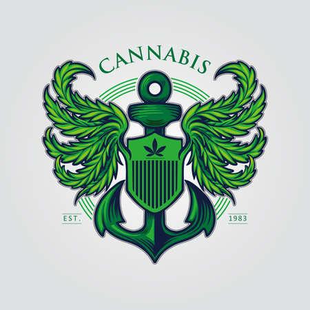 Cannabis Wing Mascot Logo with Anchor Illustrations Ilustração