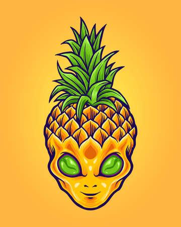 Alien Pineapple Mascot Logo Summer for merchandise sticker and clothing line brands