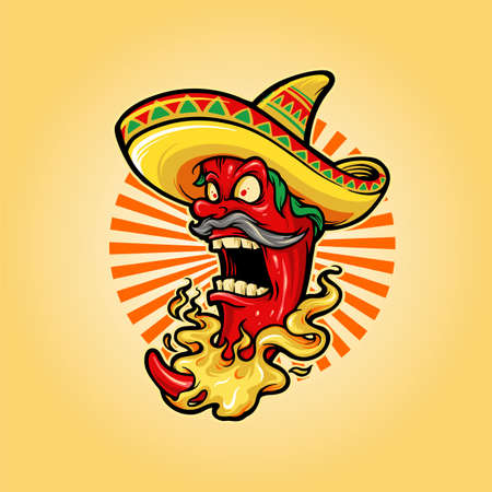 Mexican Red Hot Chili Pepper with hat icon Mascot Logo for restaurant food and drink