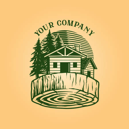 Lumber Log House Logo Vintage Wood business comnpany classic Illustration