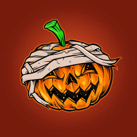 Illustrations for Pumpkins Halloween Mascot Horror for merchandise sticker and clothing line brands and poster